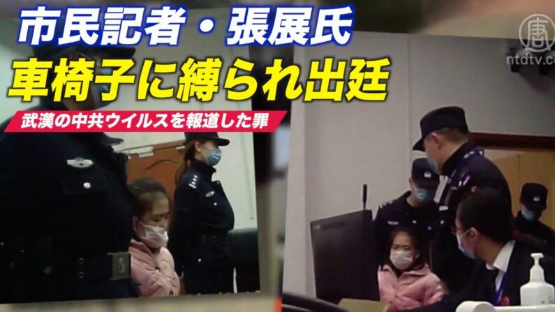 市民記者・張展氏 痩せ細り車椅子に縛られた出廷時の写真が公開